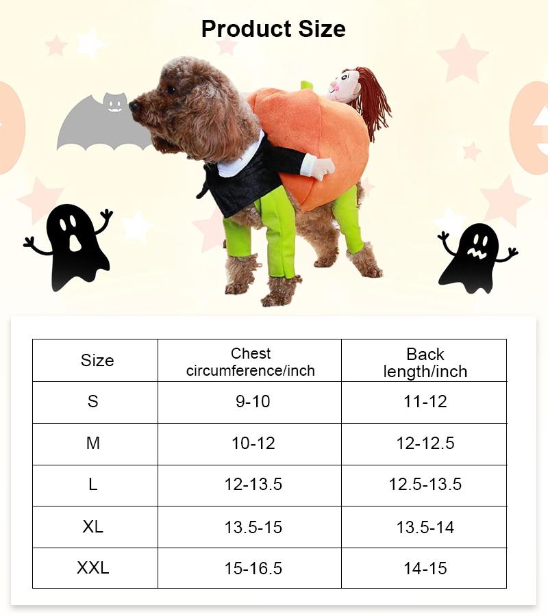 size funny dog costume design
